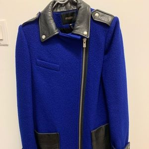 Maje wool coat with leather details.